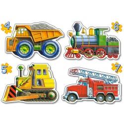 Puzzle sada 4v1 - Auta (buldozer, mašinka, nákladní auto, hasičské auto)